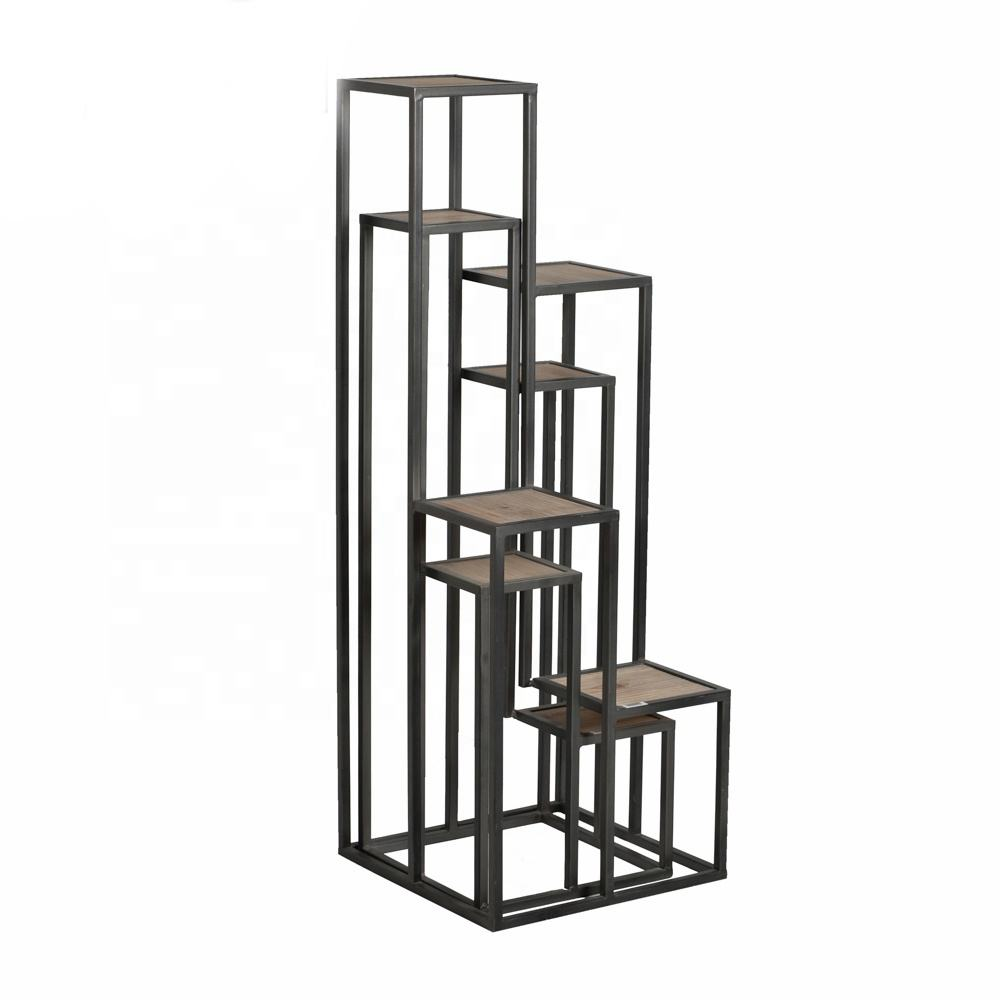 Mayco Garden Design Metal and Wood Decorative 4 Tier Flower Shelf Plant Stand Set