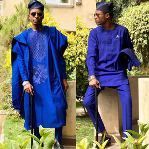H & D New Arrivals African Long Robe For Men Three Pieces Sets African Agabada Shirt And Pants For Men
