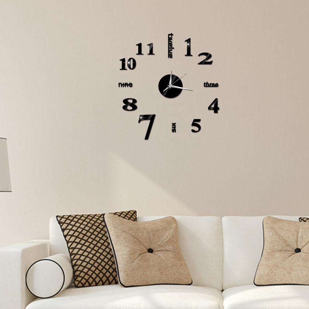 Large DIY Wall Clock Modern 3D Wall Clock with Mirror Numbers Stickers for Home Office Decorations