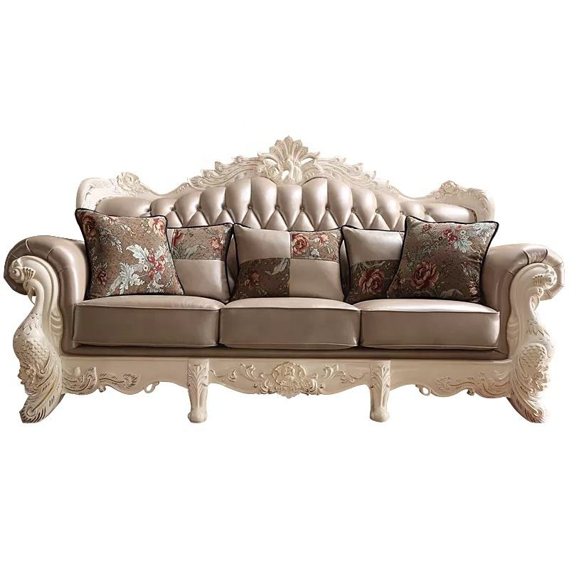 Factory Directly Luxury European Style Living Room Solid Wood Carved Leather Sofa Set