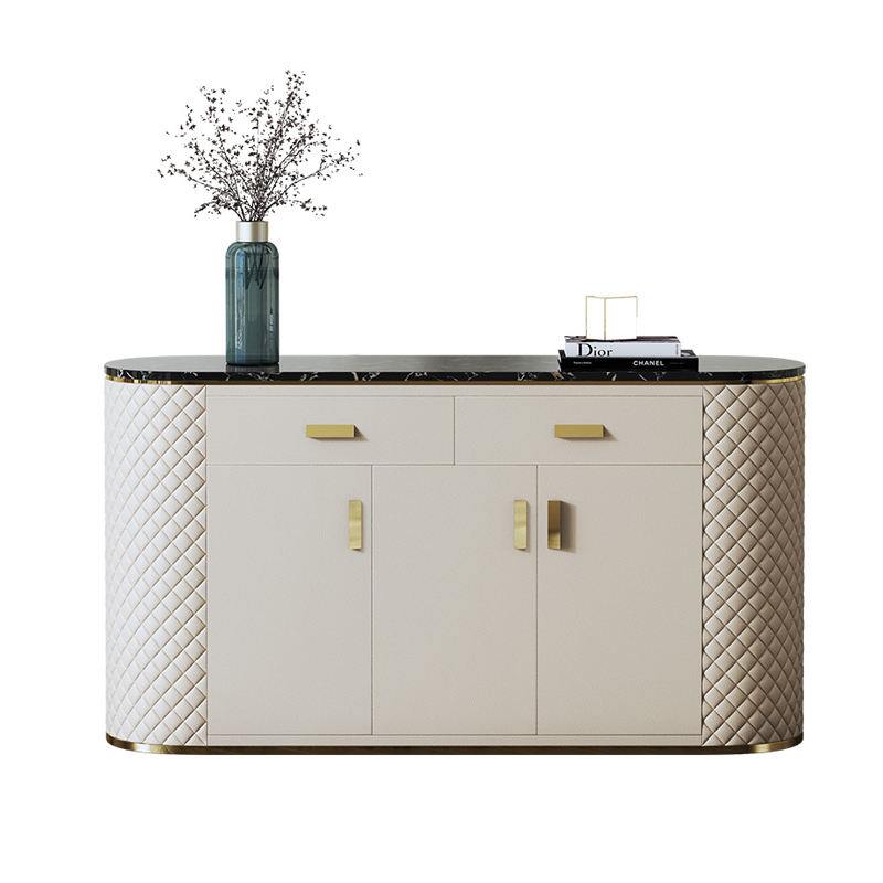 Rice White Modern Furniture High Quality Storage Luxury Style Living room Sideboard with drawer