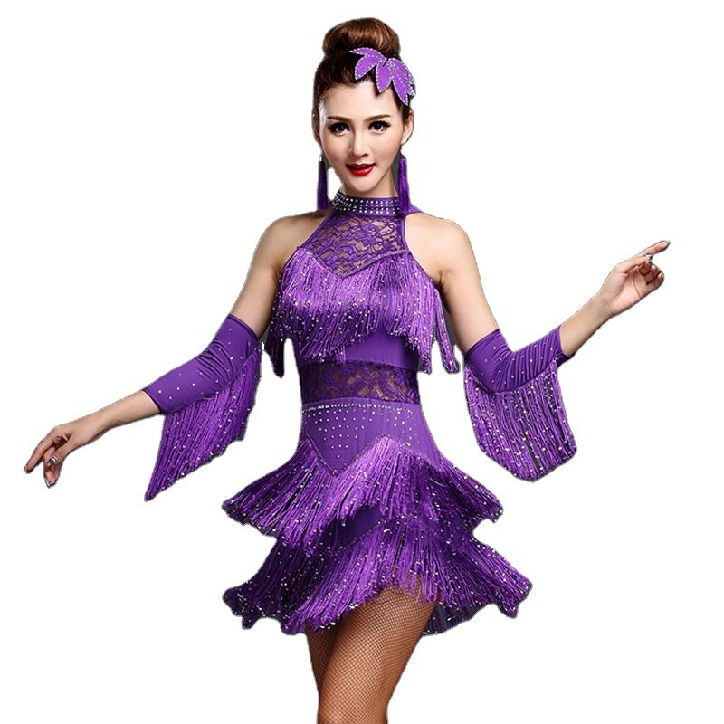 Latin Dance Competition Dresses Ladies Tassel Sequin Latin Salsa Dance Standard Costumes 5 Colors S-4XL Size