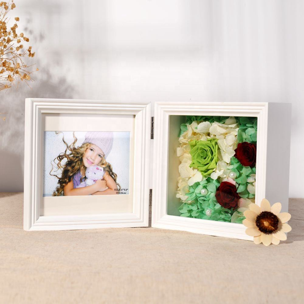 Double Horizontal 4x6 Picture Frame Wide Real Wood Molding Real Glass Black photo frame