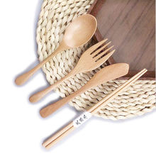 2020 Promotional Gift Amazon Hot Sale Spoon Fork Knife Chopstick Travel Outdoor Camping Custom Logo Beech Wooden Cutlery Set