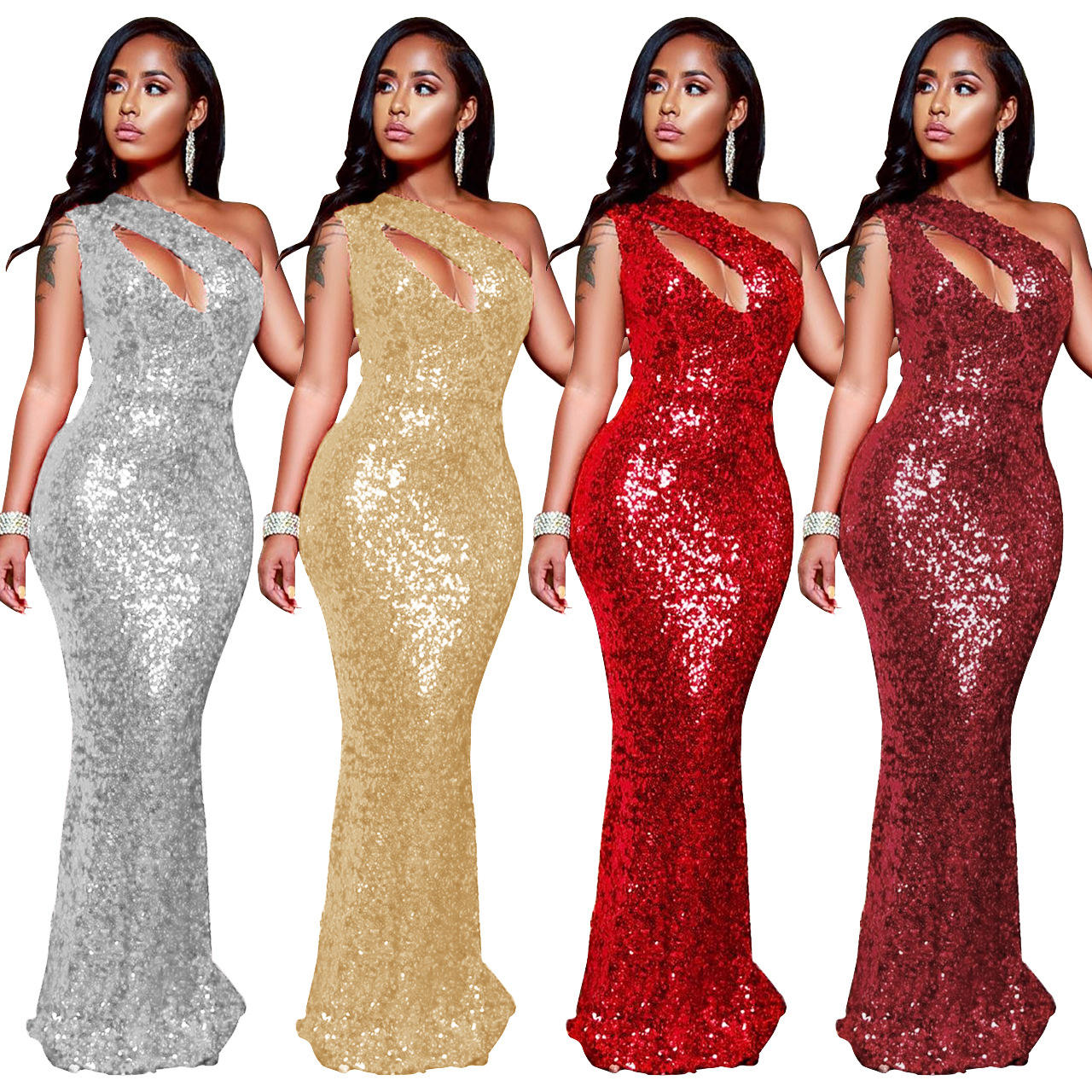 New fashion sexy long robes formal sequined single shoulder evening dress elegant party