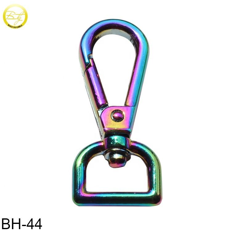 Custom zinc alloy rainbow swivel spring snap clip bag strap hook