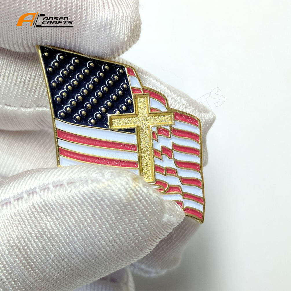 Amazon Hot Sell Proundly American Flag Jewelry Quality Gold enamel Brooches Lapel pin Badge