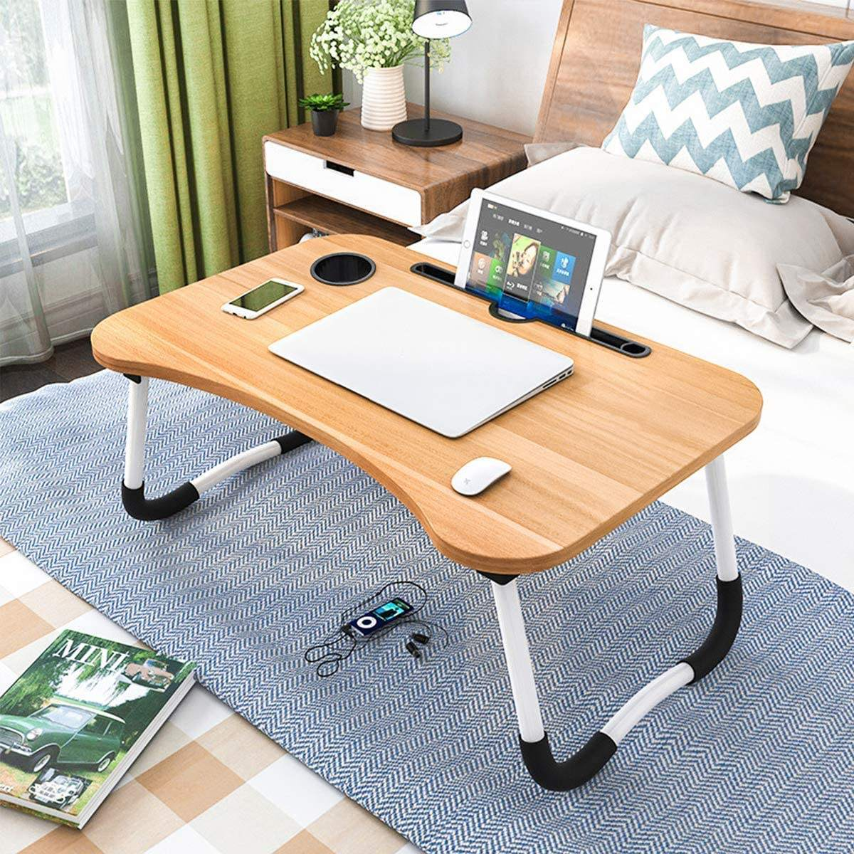 Modern Small Dormitory Table Breakfast Serving Black Adjustable Portable Foldable Wooden Laptop Computer Desk for Use Bedroom