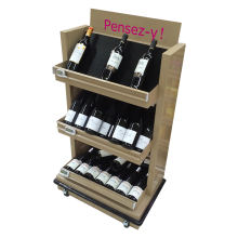 Free standing wood display rack shelf wine bottle display stand wine display rack