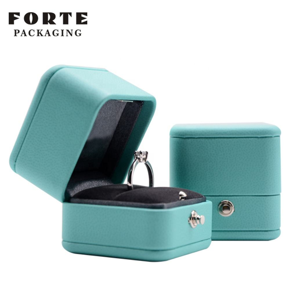 FORTE Custom Logo Luxury Small Button PU Leather Gift Jewelry Ring Box