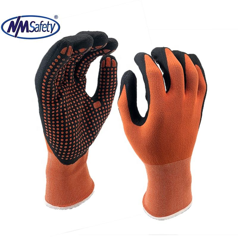 NMSAFETY General Purpose Knit Nylon spandex Blend Micro Foam Dots Nitrile Coated Automotive Industries Gloves