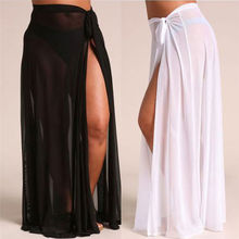 Solid Women's Sheer Mesh Bikini Cover Up Swimwear Swimsuit Bathing Summer Beach 2020 Sarong Long Skirts High Waist Girl Chiffon