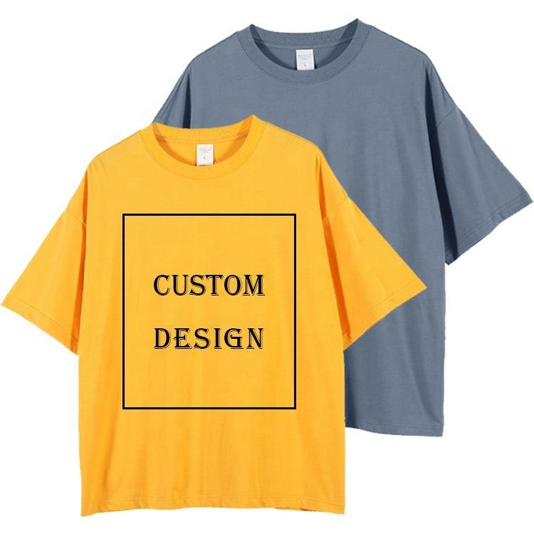 Factory direct supply oversize cotton t-shirts dropped sleeve custom printing t-shirt