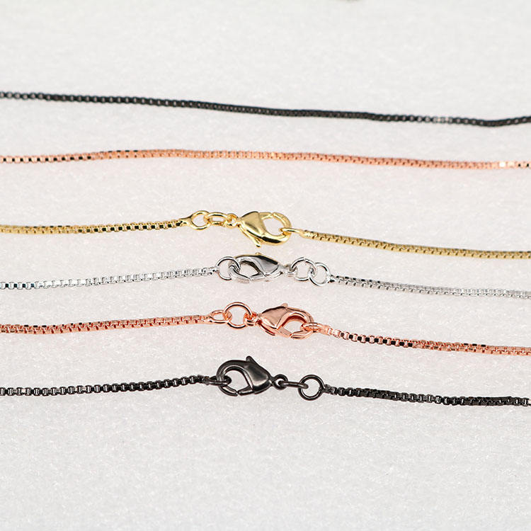 BCL1170 High quality gunmetal silver rose gold plated brass box necklace chains for pendant