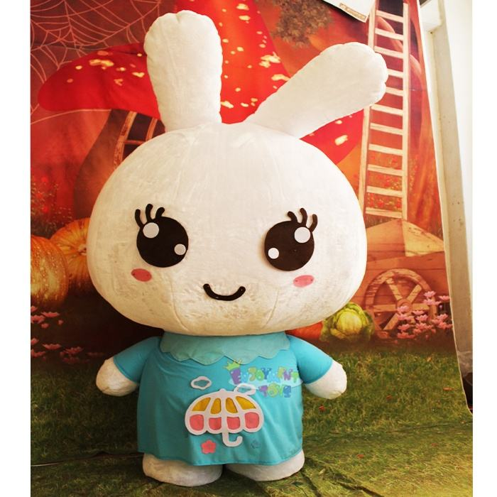 Wholesale big head rabbit mascot costumes for adult Cartoon Character Animal White Mascot Costume