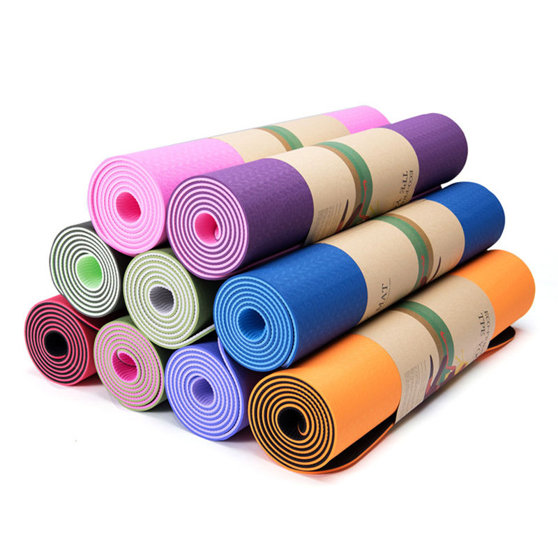 Promotional custom big size 6mm color fitness weight loss tpe unisex yoga mat