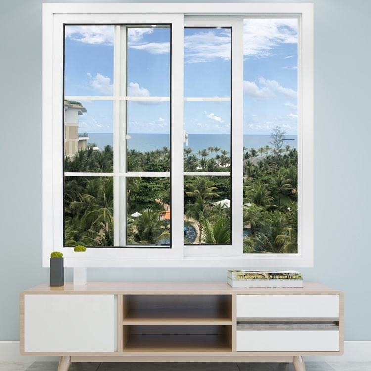 upvc/ pvc/ plastic double glazed sliding windows factory