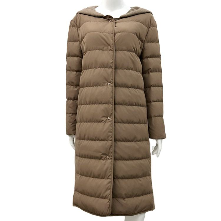 Manufacturer Wholesale 2020 Hooded Winter Warm Down Filling Long Coat Apparel Stock for Women