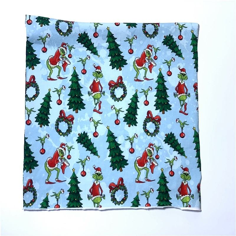 Lycra Jersey Fabric Cloth Christmas Design 95 Cotton 5 Lycra Digit Printed Cotton for Baby 260-280gsm Dress 100% Cotton Shirt