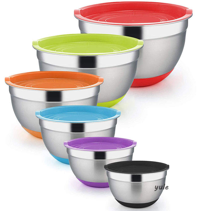 Set of 6 various sizes stainless steel mixing bowl set with non slip bottom and tight fitting lids