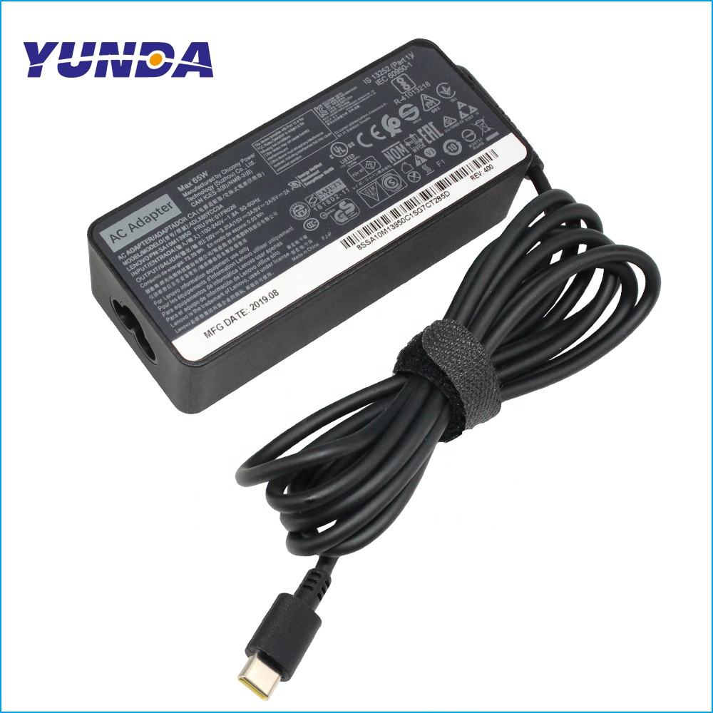 Laptop Charger Power Supply para Lenovo ThinkPad 65 Watt 20V ADLX65YDC2A 3.25A-Tipo C <span class=keywords><strong>Adaptador</strong></span> AC USB
