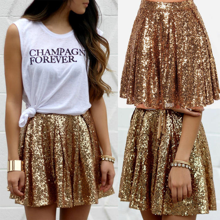 Explosion skirts European and American fashion sexy gold sequined skirt pleated skirt
