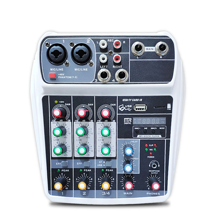 Kualitas Tinggi USB 4 Channel Powered Mixer Portable Audio Pmx