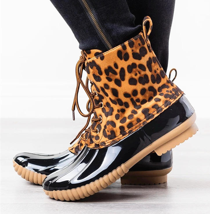 Hot sale fashion Personalized Women's Short Seprape Leopard Duck Rain Boots