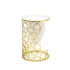 High Quality Tall End Gold Round Side Accent Table With Mirror Top