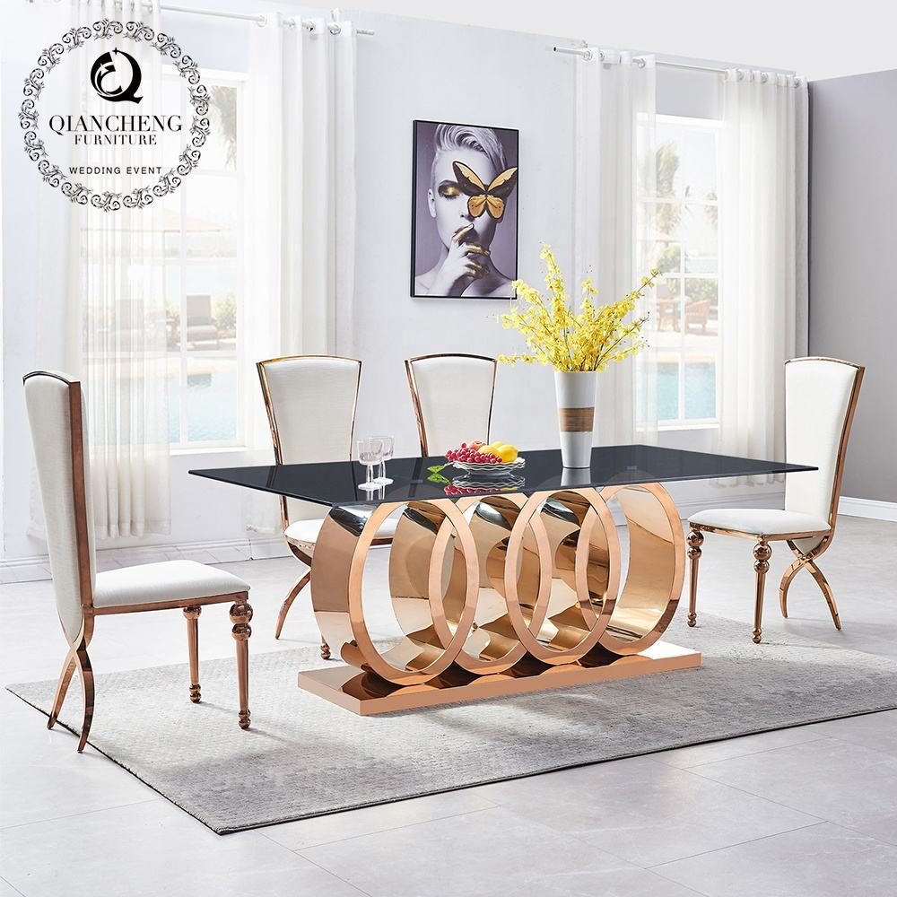 modern style designs luxury dining room furniture marble top stainless steel legs table and chair sets