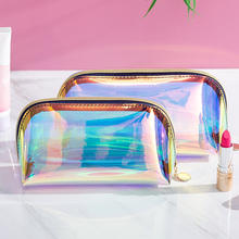2019 Women private label waterproof laser TPU iridescent cosmetic bag pouch pvc holographic makeup bag with zipper