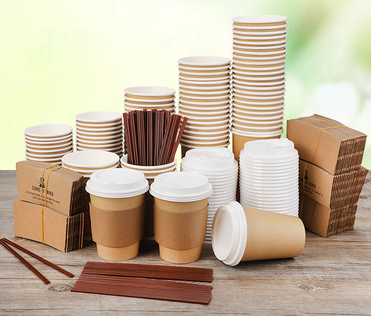 Multiple color hot coffee paper cup, coffee paper cup with sleeves and lids