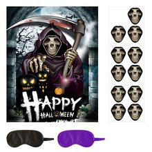 Pafu new design customized halloween party game props supplies pin the scary face on the skeleton with 12pcs sticker game