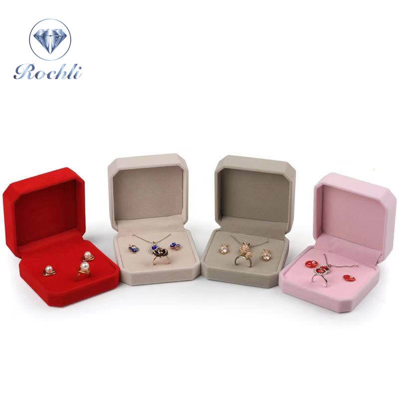 Custom Logo Jewelry Packaging Box Velvet Jewelry Set Box for ring earring necklace multiple use jewelry case
