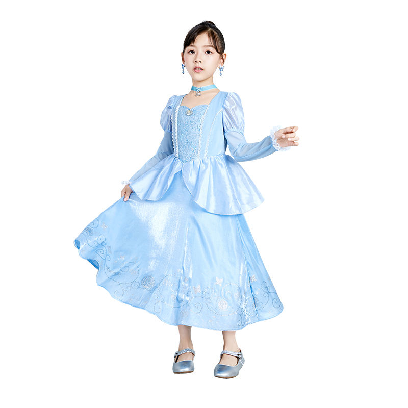 Dresses Kids Costumes Girls Dress Up Fancy Princess Costume Role Play Halloween Party Classic Cinderella Adventure Dresses With Tiara For Kids