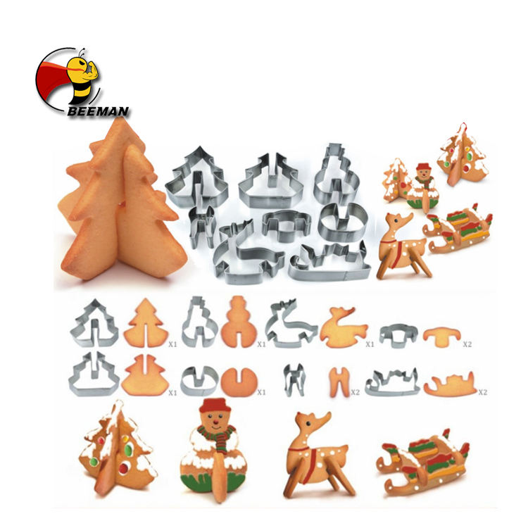 Beeman 8pcs Set Stainless Steel Sheet Holiday Christmas Halloween Mini Cake Multi Cookie Cutter