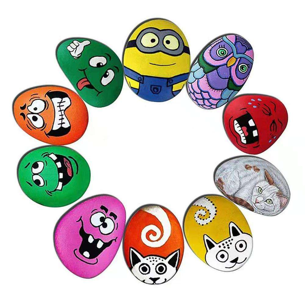 Rock Painting Kit for Kids Creativity Stone Arts DIY Waterproof Acrylic Craft