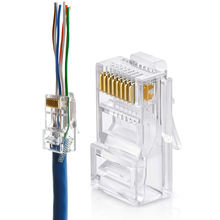 Ethernet RJ45 Pass Through Modular Plug Connector Cat5e Cat6 EZ RJ45 Connector