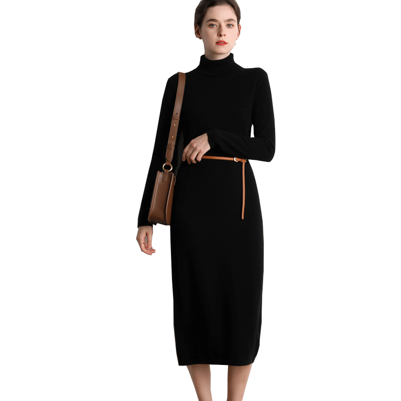 Factory Casual Long Sleeve Sweater Dresses Elegant advanced Solid Color 100% cashmere sweater