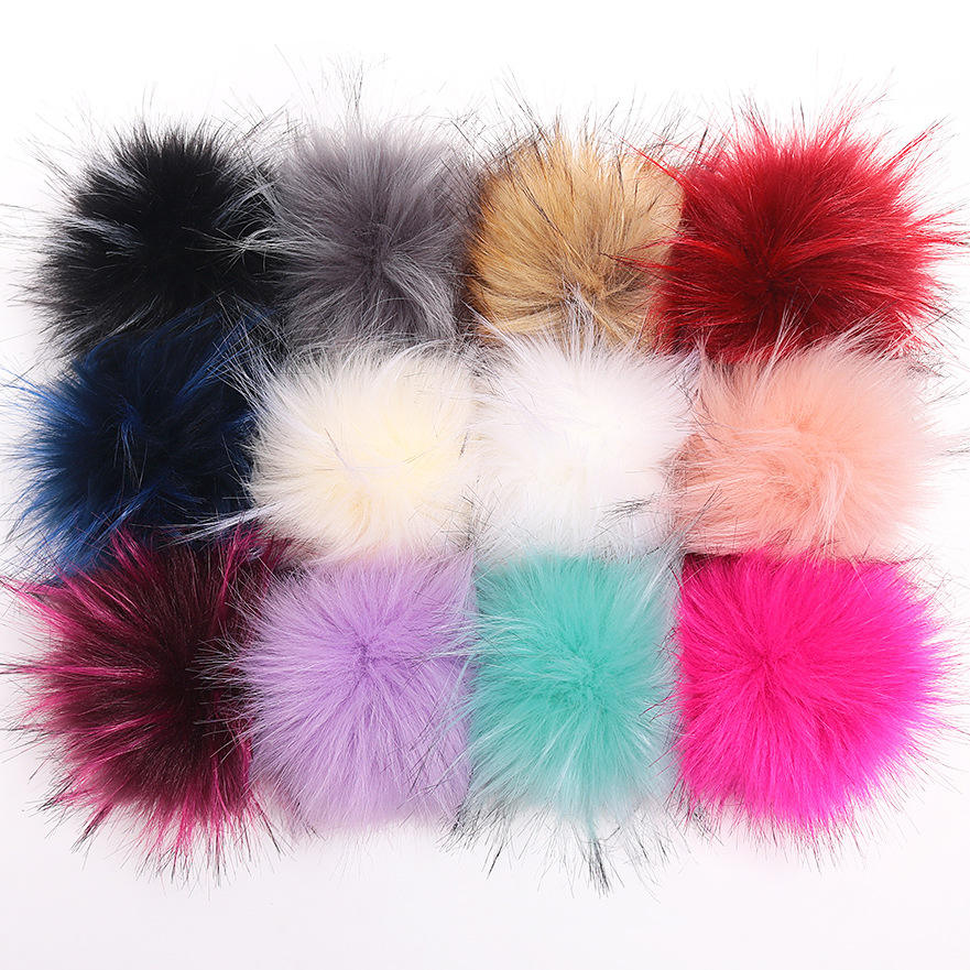 2020 Factory 10cm faux raccoon fur pom pom poms pompoms with snap for hat beanie dress shoes cloth