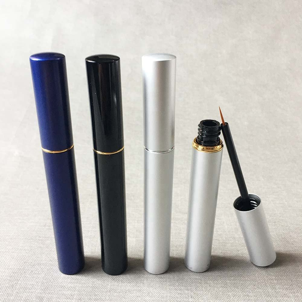 P-lan Stock White Aluminum 5ML Empty Eyeliner Container Makeup Bottle Wholesale Eyelash Serum Packaging Tube With Free Samples