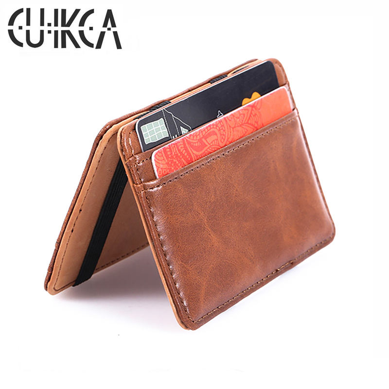 CUIKCA Korean Version Unisex Magic Wallet Money Clip Slim Wallet Purse Women Men Retro Leather Wallet Credit Card Cases