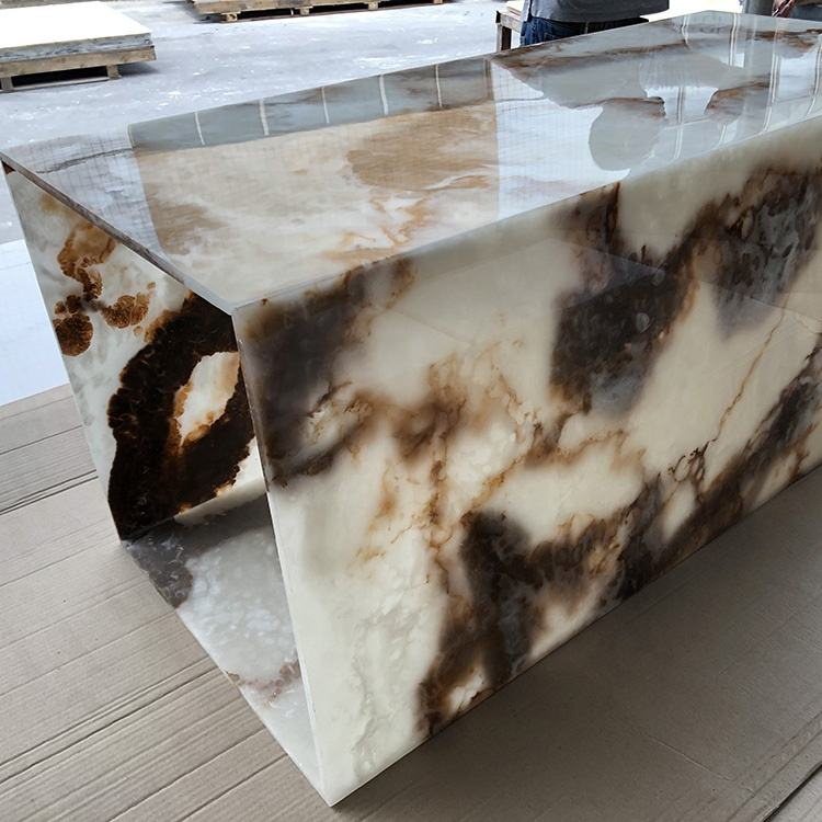 Customized Translucent Artificial Onyx Marble Stone Decorated Alabaster Light Box