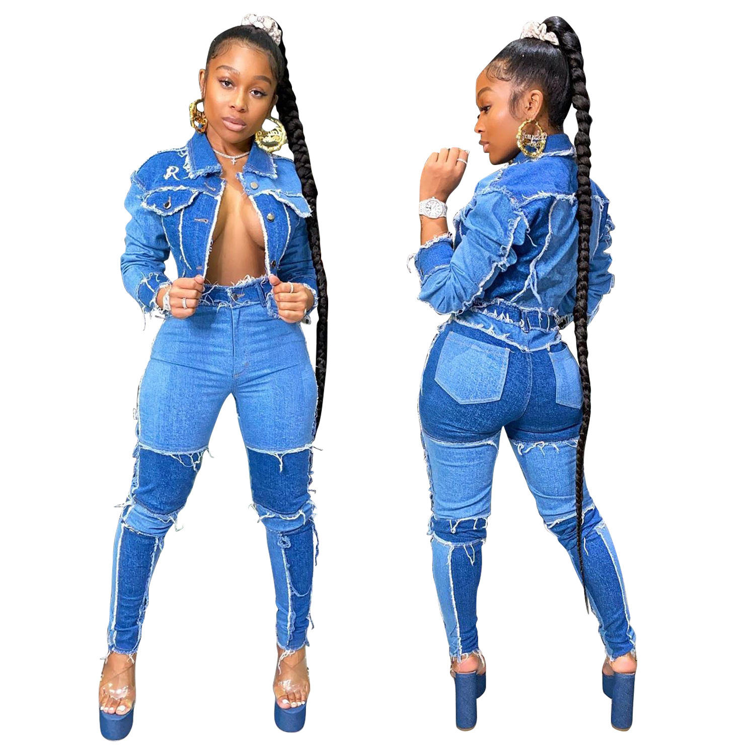 Hot sale fall Cardigan stitching denim suit high waist denim jean outfits for women