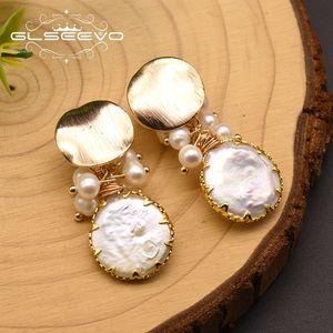GLSEEVO 100% Fresh Water White Pearl Clip On Earrings For Women Girl Lovers' Cute Luxury Engagement Gift Aretes De Mujer GE0872B