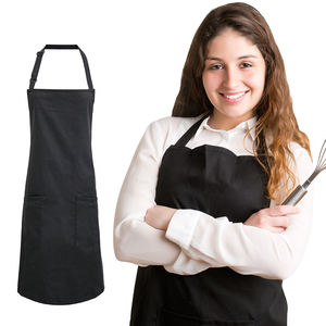 Fashion waterproof customer logo design 65% cotton 35% polyester black adult work kitchen apron cooking clothes bibs