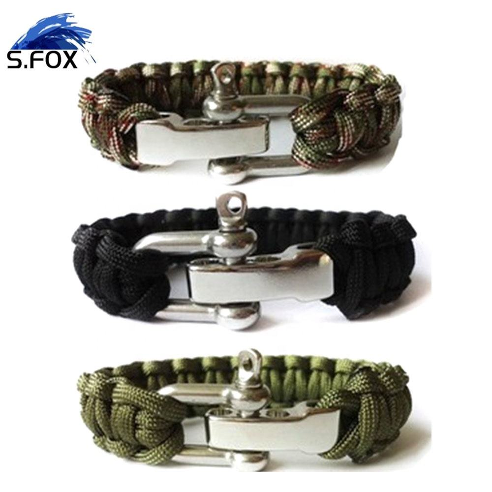 "U Shape Buckle Paracord Survival Bracelet with Stainless Steel D Shackle - Adjustable Size Fits 7""-8"" (18-20 cm) Wrists"