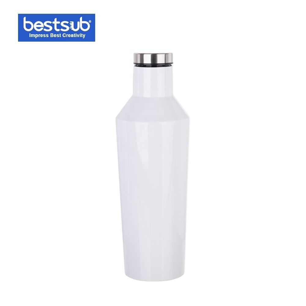 BestSub Sublimation Printing Blank 17oz/500ml Reusable Metal Stainless Steel Thermos Wine Water Bottle Hip Vacuum Flask White