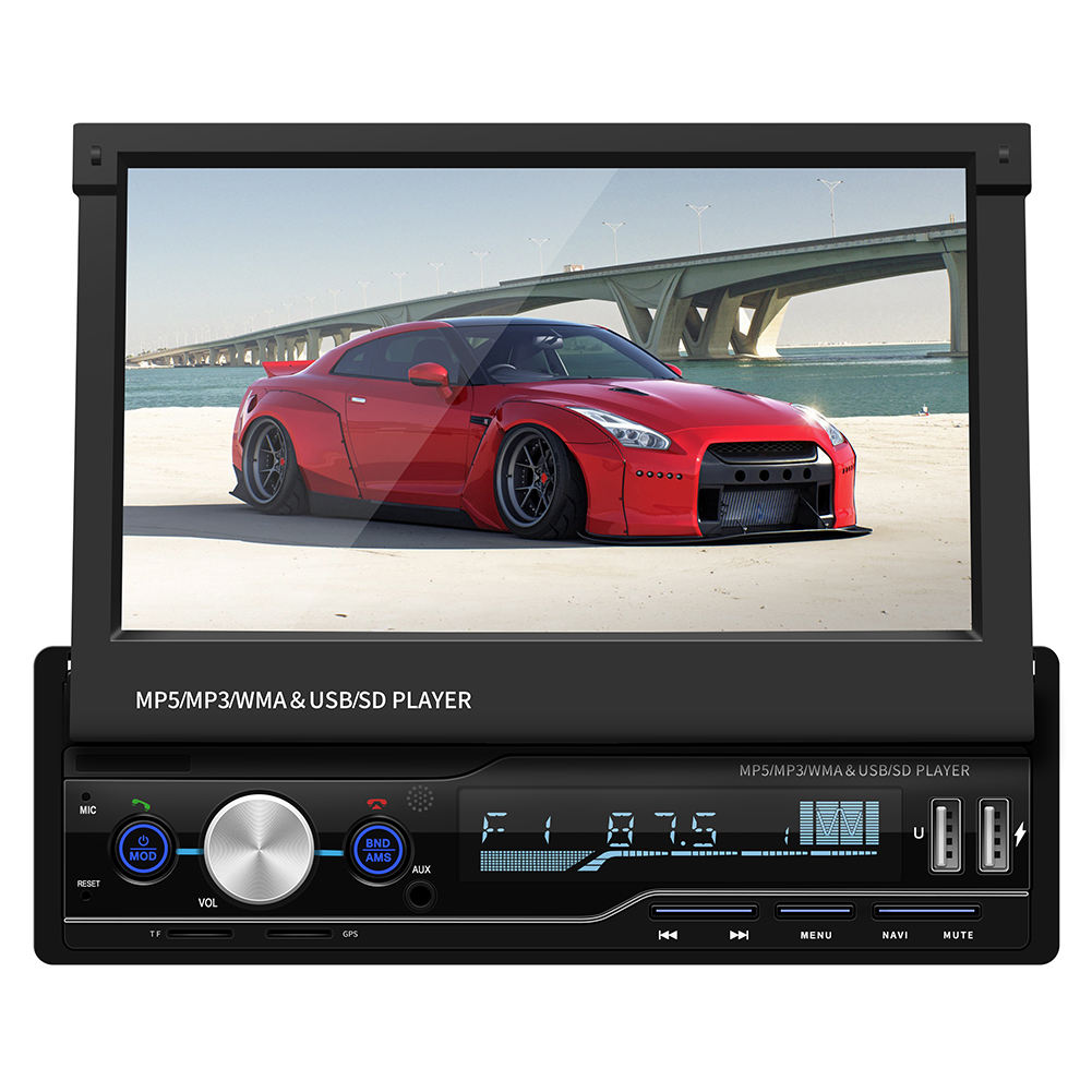 Intrekbare Panel 7 Inch Single 1 Din Auto Video Gps Navigatie Met Spiegel Link Fm Autoradio