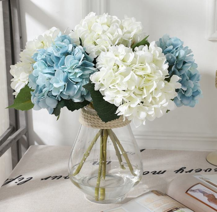 High quality white silk hydrangea bulk artificial flower for wedding home centerpieces decoration